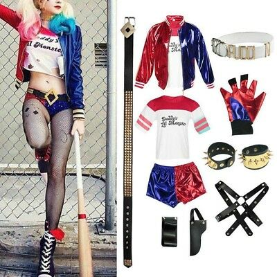 Halloween Femmes Costume Déguisement Suicide Squad Harley Quinn Cosplay Set