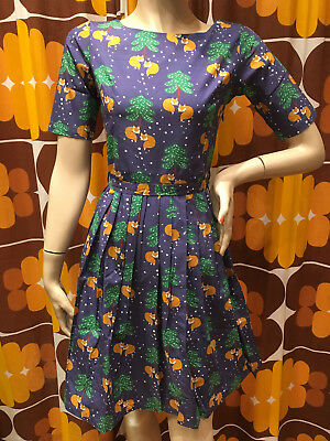 WOMENS RUN & FLY Indie Retro Vintage 50's style winter fox christmas tea dress