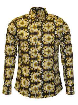 New mens Run&Fly retro vintage style 60's/70's brown yellow cream pattern shirt