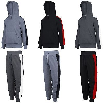 Kids Side Striped Outfit Girls Hooded Pullover or Joggers Boys Fleece 3-14 Years
