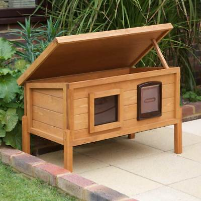 XL Outdoor Wood Cat House Shelter Waterproof Garden Animal Insulated Roof Den