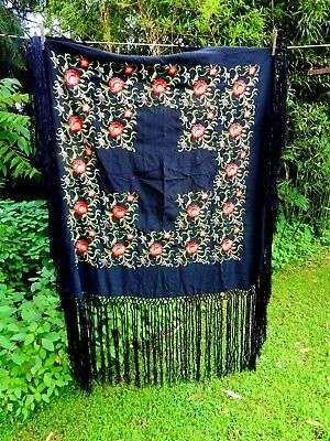 "Antique Embroidered Black Silk PIANO SCARF Shawl Tablecloth 38"" Fringe Canton"