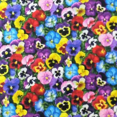 Lovely Pansies Elizabeth Studio Cotton Fabric Realistic Flowers Floral Pansy