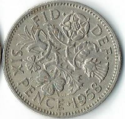 "1958 UK -Great Britain *Wedding Sixpence - ""Something Old Something New"""