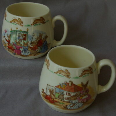 2 Bunnykins Mugs China Royal Doulton Doll House Puppet Show Ice Cream Bunny