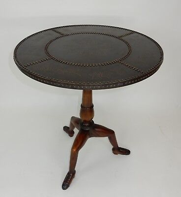 Theodore Alexander with Bronze top and mahogany shoe feet accent  Table 30""