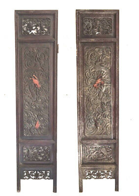 Wood Carving: Beautiful Antique Wood Carved Cabinet Doors/Panels. Set of 2