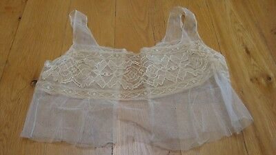 Antique camisole embroidered lace on mesh ivory Victorian bodice undergarment