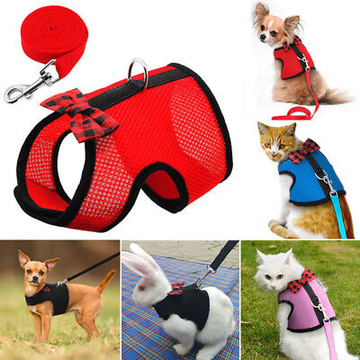 1* Air Mesh Cat Harness And Leash Large Small Kitten Walking Jacket Escape Proof