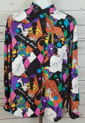 Vtg 80's Retro Funky Womens Sz M Shirt Button Blouse Abstract Colorful Artsy