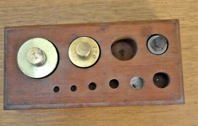 Antique Brass Scale Weights/With Box-Newark Scale Co - Nice Condition   (14-45)