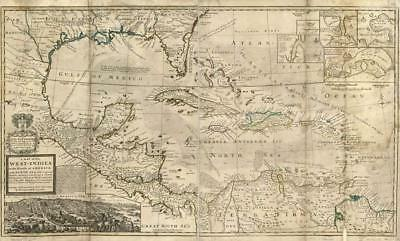 "1650s ""Insulae Americanae"" Vintage Style US Caribbean Map 18x24"