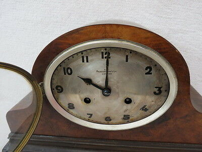Vintage Oval Dial Bravingtons 8 Day Mantel Clock For Restoration