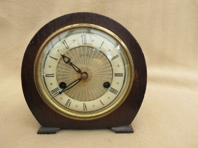 Small Vintage Smiths Floating Balance 8 Day Striking Clock For Spares Repair