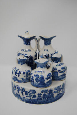Vintage Blue Willow White Porcelain Cruet Condiment Set Shakers Japanese Asian