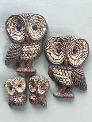 Vintage Set of 4 Owl Family Wall Plaques Big Eyes Home Decor