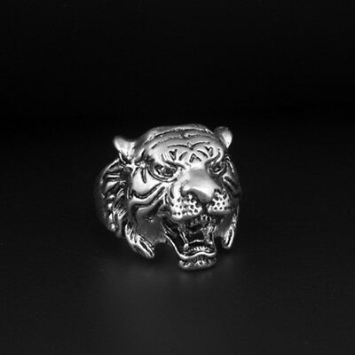 HOT Vintage Fashion Stainless Steel Men's Punk Tiger Crystal Biker Ring Jewelry