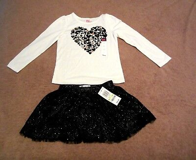 Baby Girls Toddler Epic Threads Black/Gold Sparkle Heart Skirt Outfit Size 4T