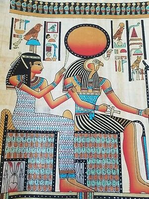 Egyptian Hand-painted Papyrus - Queen Nefertari and god Horus