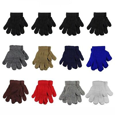 Kids Winter Knitted Magic Gloves Wholesale Lot 12 Pairs