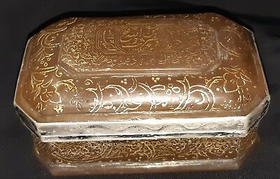 ANTIQUE Museum quality mughal glass Box islamic Quran hand calligraphy 18th C