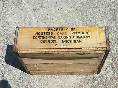 Vintage Hostess Cakes Wooden Crate Detroit MI Rare Twinkies Cupcakes