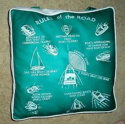 Vintage Coast Guard Approved Boat Cushion Boating  Rules Of The Road NR