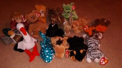 15 TY Beanie Babies Most with Errors W/Tags Retired Excellent Condition