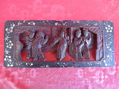 Antique Wood Carving __ China (or Japan )__ Courtly Scenes__36cm