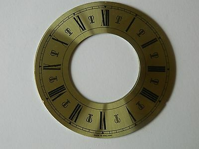 4 New Brass Clock Chapter Ring/Dial 155mm  Black Roman Numerals