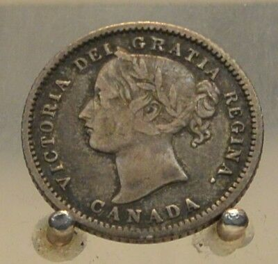 1875 H Canada Silver 10 Cents, Old Silver World Ten Cent Coin