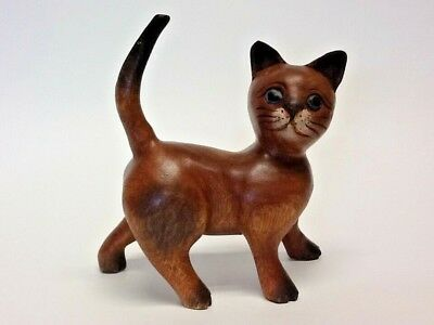 Handmade Hand-Painted Solid Wood Cat Not A Toy