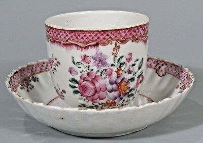 Fine China Chinese Polychrome Porcelain Export Cup & Saucer Qianlong ca. 18th c