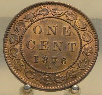 1876 H Canada Bronze 1 Cent , Old 1C World Coin