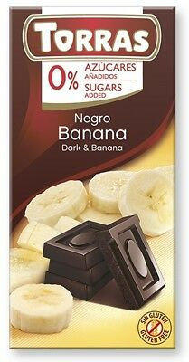 Torras No Sugar Dark Chocolate with Banana 75 g (Pack of 3), Low Carb