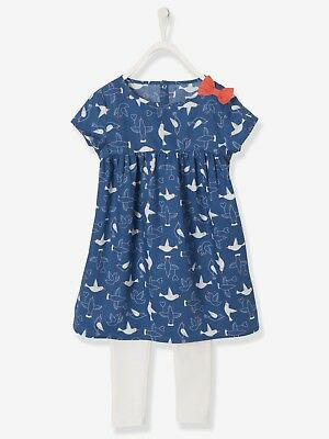 12# BNWT VERTBAUDET Dress & Leggings outfit blue dark all over printed - 4 Years