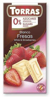 Torras No Sugar White Chocolate with Strawberries 75 g (Pack of 3), Low Carb