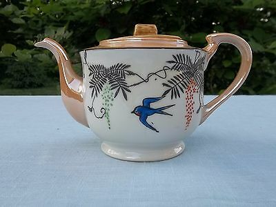 """Vintage Hand Painted Glazed Teapot Stamped Japan Approx. 4"""" Tall"""