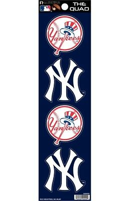 New York Yankees Set of 4 Decals Stickers The Quad by Rico 2x2 Inches
