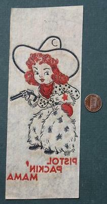 1940s WWII Era unused decal/transfer of Cowgirl in furry chaps with six shooter!