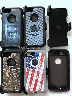 Camo Case Cover For iPhone 7 & iPhone 8 With (Clip Fits For Otterbox Defender)