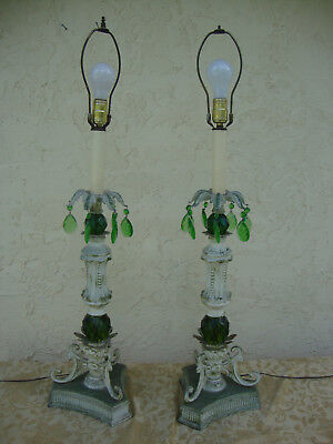 Vintage Pair of Old Shabby Tole Flowers Table Lamps Italian Chic