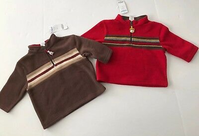 Nwt Gymboree Boys Size 12-18 Months Fleece Pullover Lot Red Brown Husky Bear