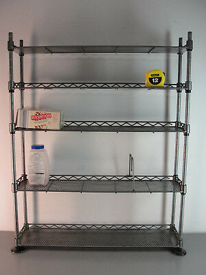STEEL SHELVING FOOD RACK ADJUSTABLE WIRE METAL TOOL SHELF 24x6x30 SILVER & BLACK