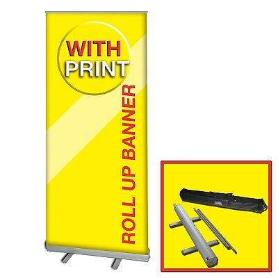 Retractable Roll Up Banner Stand With Free Print 33 X 79 Trade Show Graphic Sign