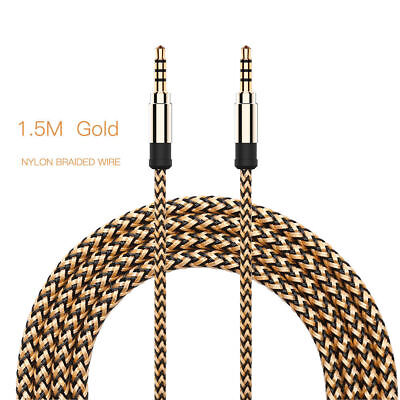 Durable 5Ft Braided Male To Male Aux 3.5mm Jack Stereo Audio Cable Code Wire