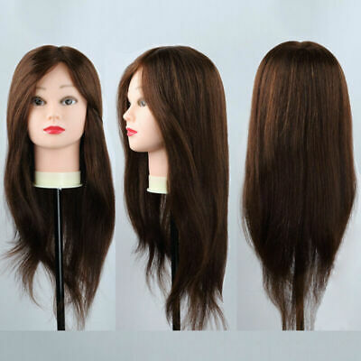 26'' 100% Salon Real Human Hair Training Head Hairdressing Mannequin Doll+Clamp