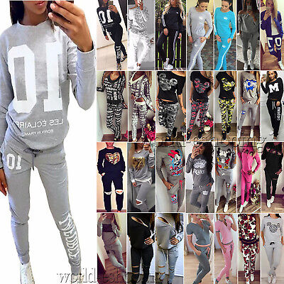 2Pcs Women Tracksuit Sweatshirt Tops Pants Set Casual Jogging Jogger Sports Suit