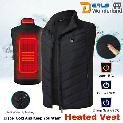 Men's Electric Battery Heating USB Sleeveless Vest Winter Heated Outdoor Jacket