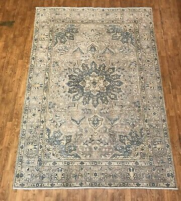 Authentic Hand Knotted Antique 100% Pure Wool Rug, Size 7'x10' Soft Blue Gray